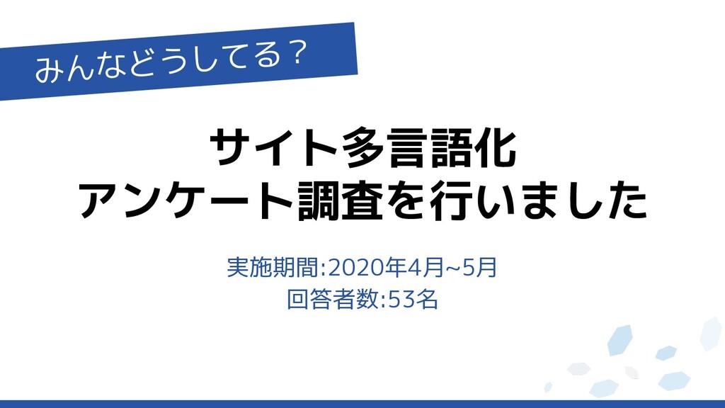 サイト多言語化 アンケート調査を行いました みんなどうしてる? 実施期間:2020年4月~5月...