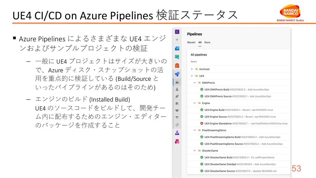 UE4 CI/CD on Azure Pipelines 検証ステータス § Azure Pi...