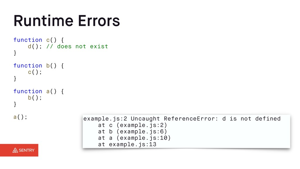 Runtime Errors function c() { d(); // does not ...