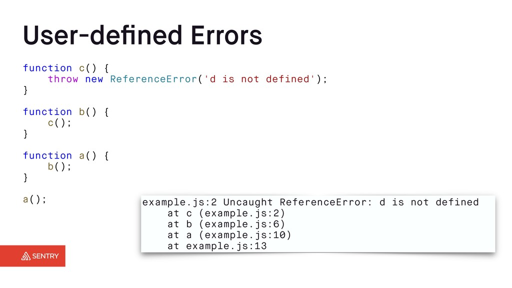 User-defined Errors function c() { throw new Ref...