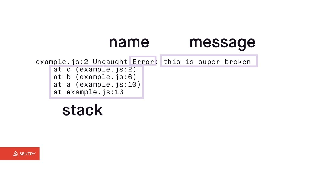 name message stack example.js:2 Uncaught Error:...