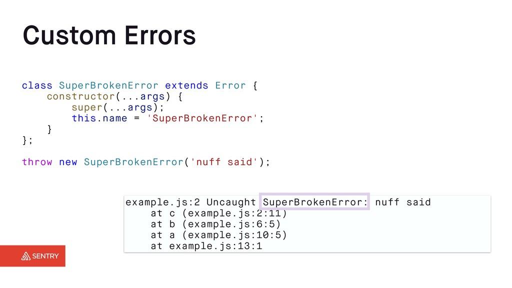 Custom Errors example.js:2 Uncaught SuperBroken...