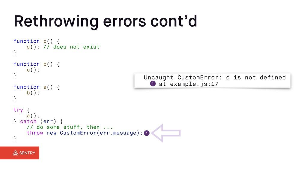 Rethrowing errors cont'd function c() { d(); //...