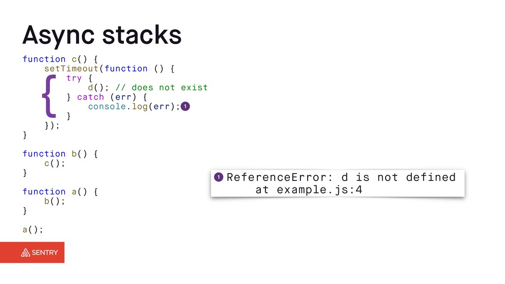 Async stacks function c() { setTimeout(function...
