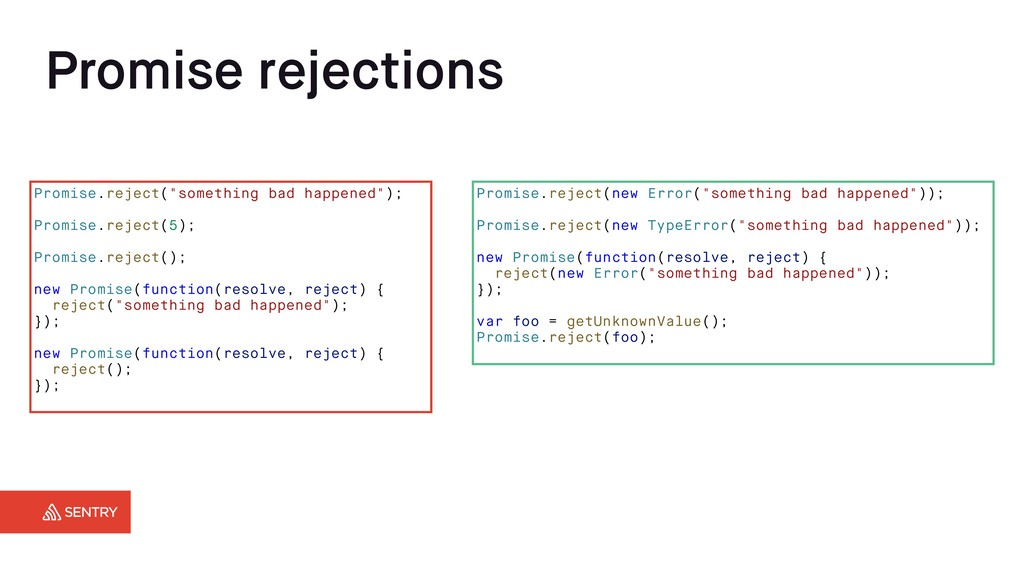 """Promise rejections Promise.reject(""""something ba..."""