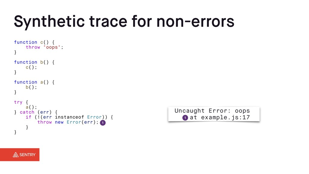 Synthetic trace for non-errors function c() { t...