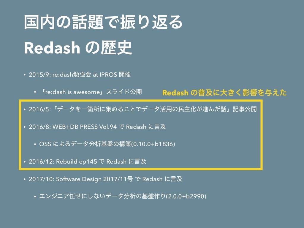ࠃͷͰৼΓฦΔ Redash ͷྺ • 2015/9: re:dashษڧձ at ...