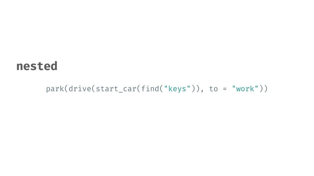 "park(drive(start_car(f i nd(""keys"")), to = ""wor..."