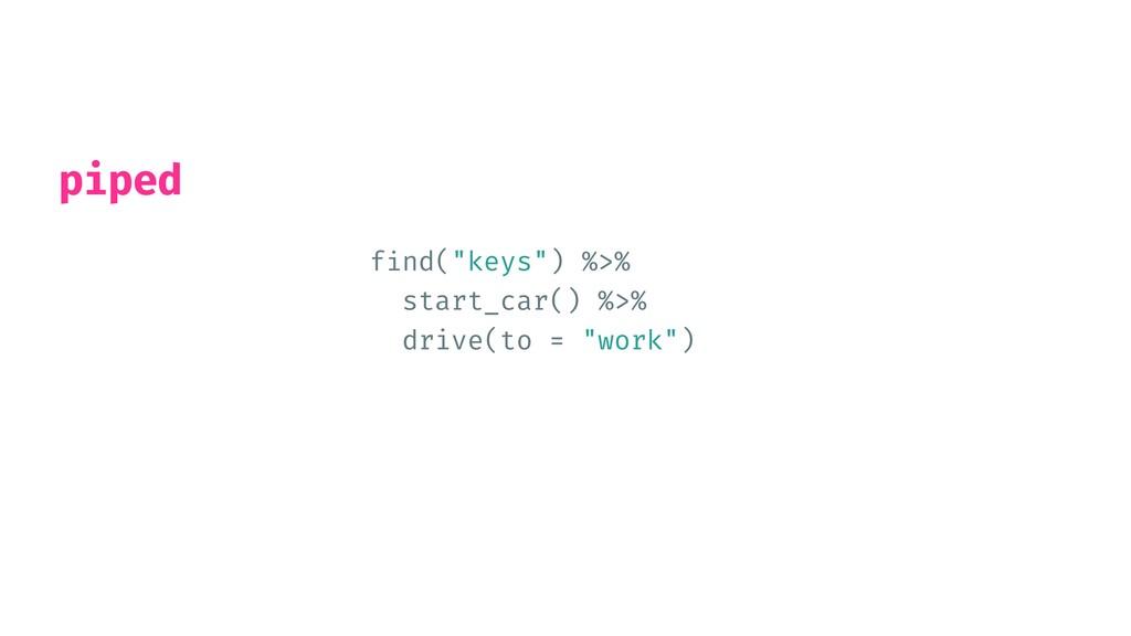 "f i nd(""keys"") %>%   start_car() %>%   drive(to..."