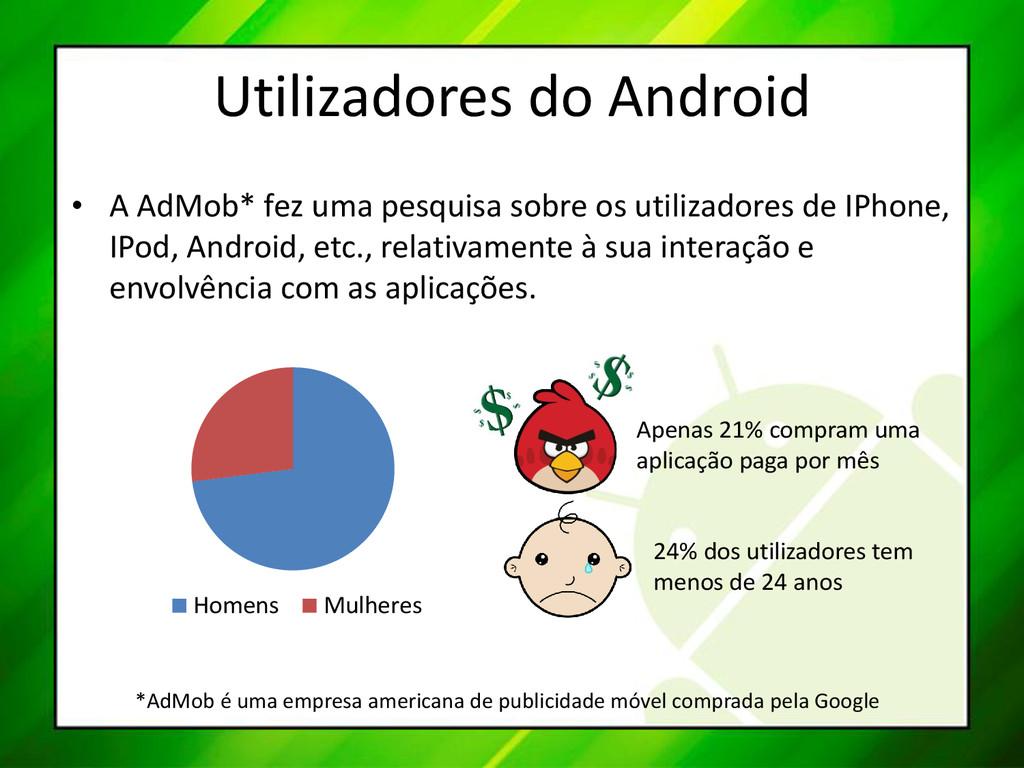 Utilizadores do Android • A AdMob* fez uma pesq...