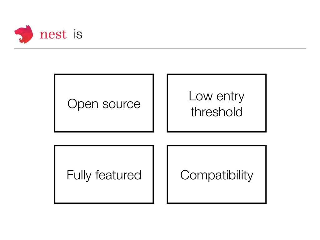 is Low entry threshold Fully featured Open sour...