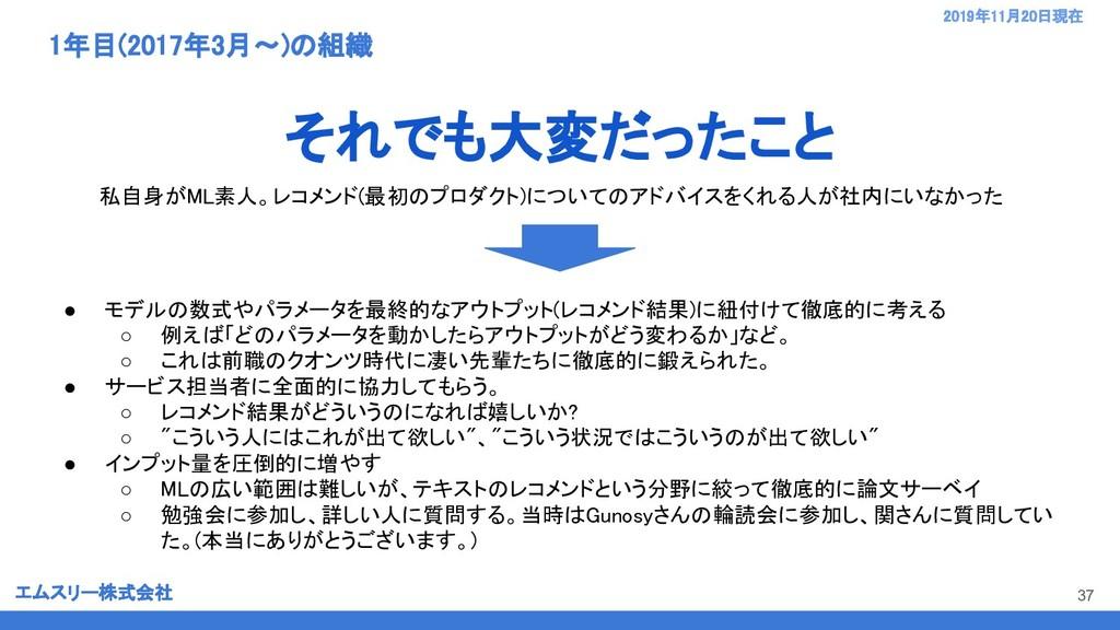 エムスリー株式会社 2019年11月20日現在  1年目(2017年3月〜)の組織 37...