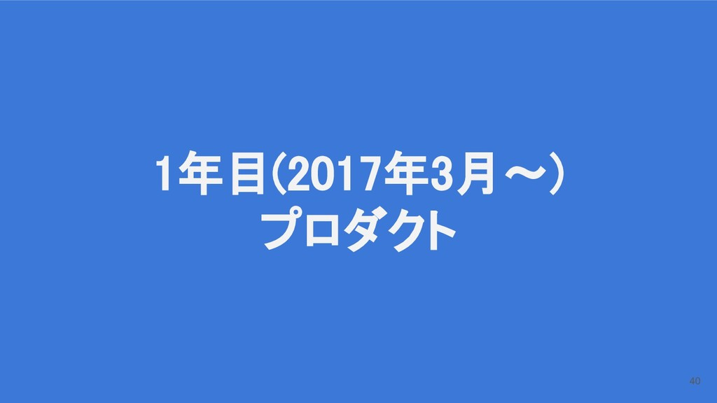1年目(2017年3月〜) プロダクト 40
