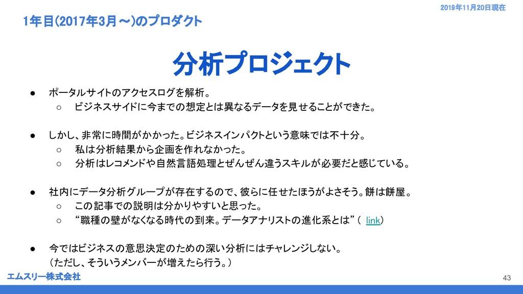 エムスリー株式会社 2019年11月20日現在  1年目(2017年3月〜)のプロダクト...