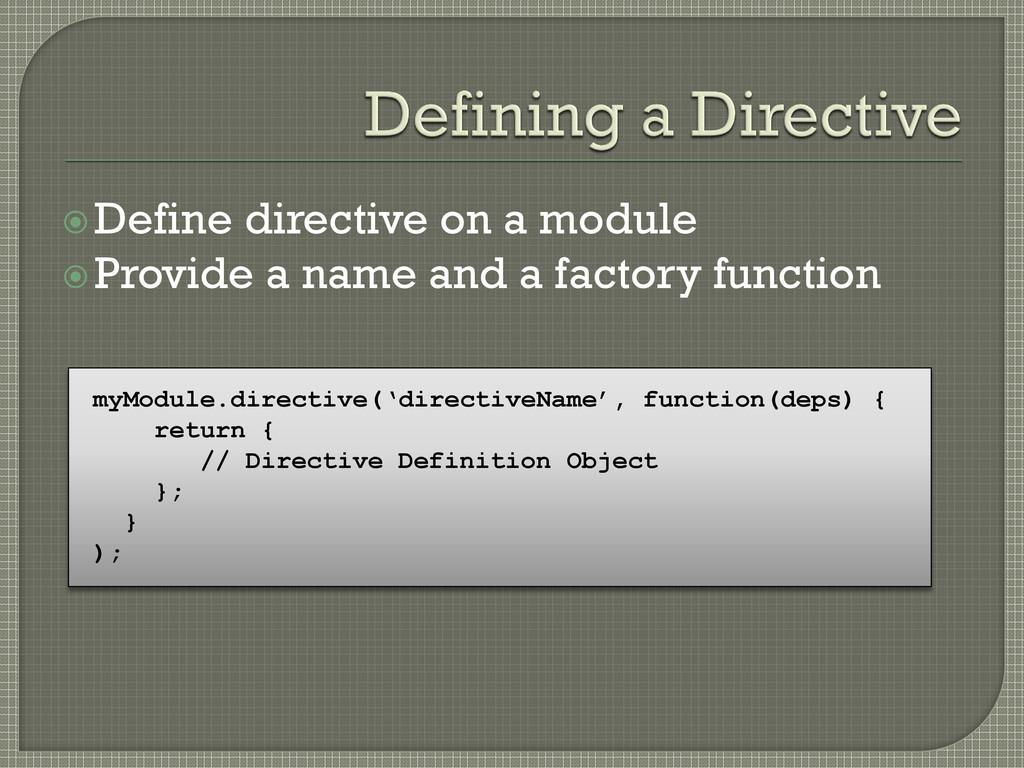 Define directive on a module Provide a name a...