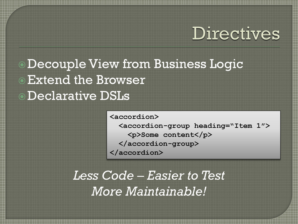 Decouple View from Business Logic Extend the ...