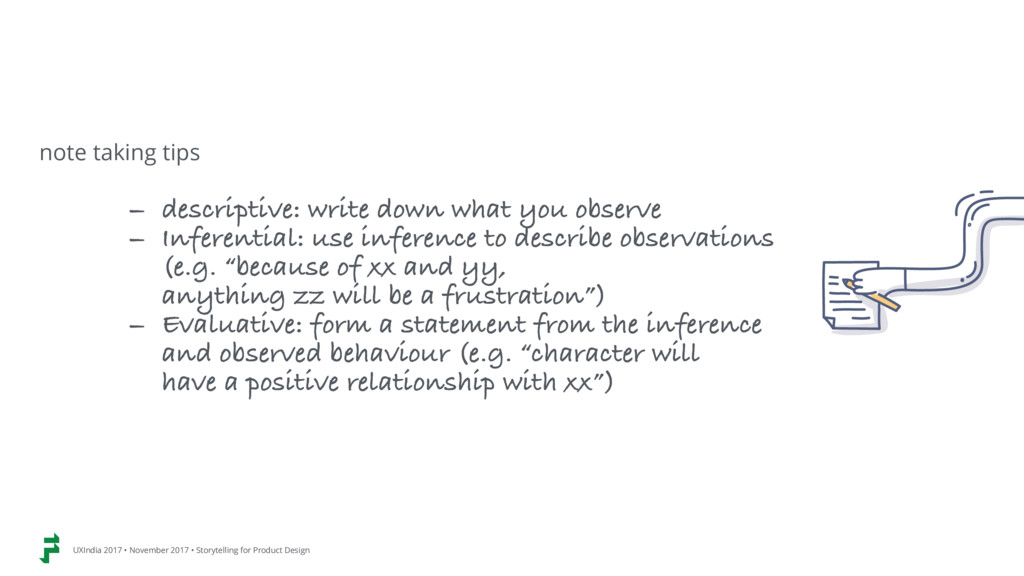 - descriptive: write down what you observe - In...