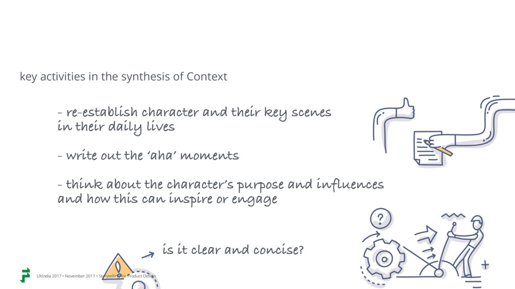 - re-establish character and their key scenes ...
