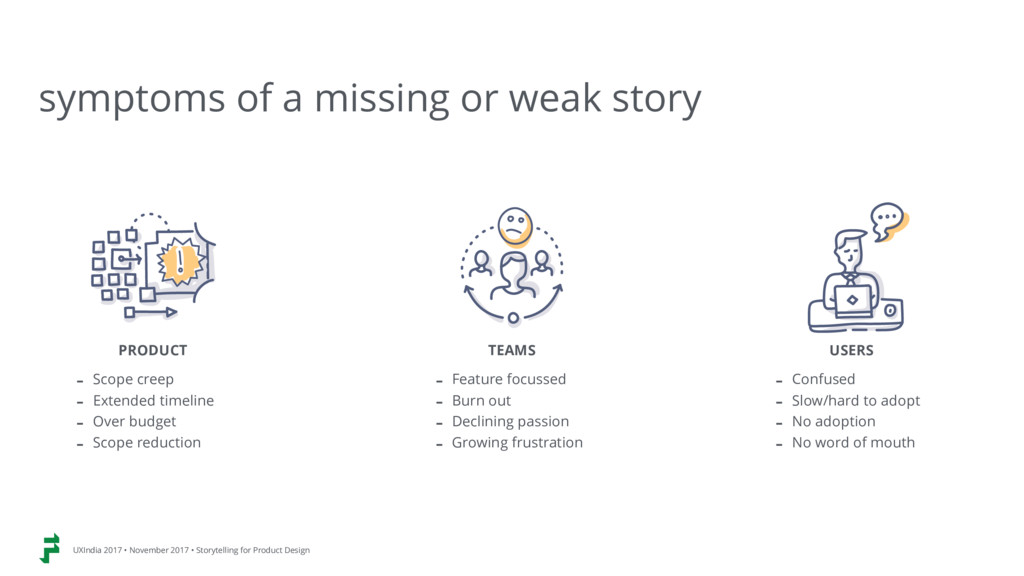 symptoms of a missing or weak story PRODUCT - S...