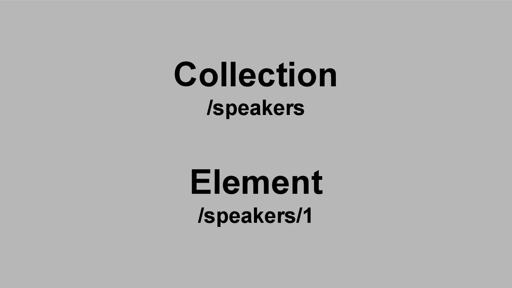 Collection /speakers Element /speakers/1