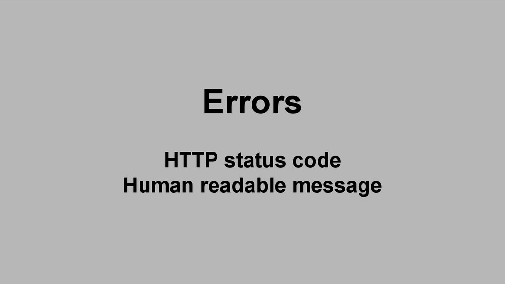 Errors HTTP status code Human readable message