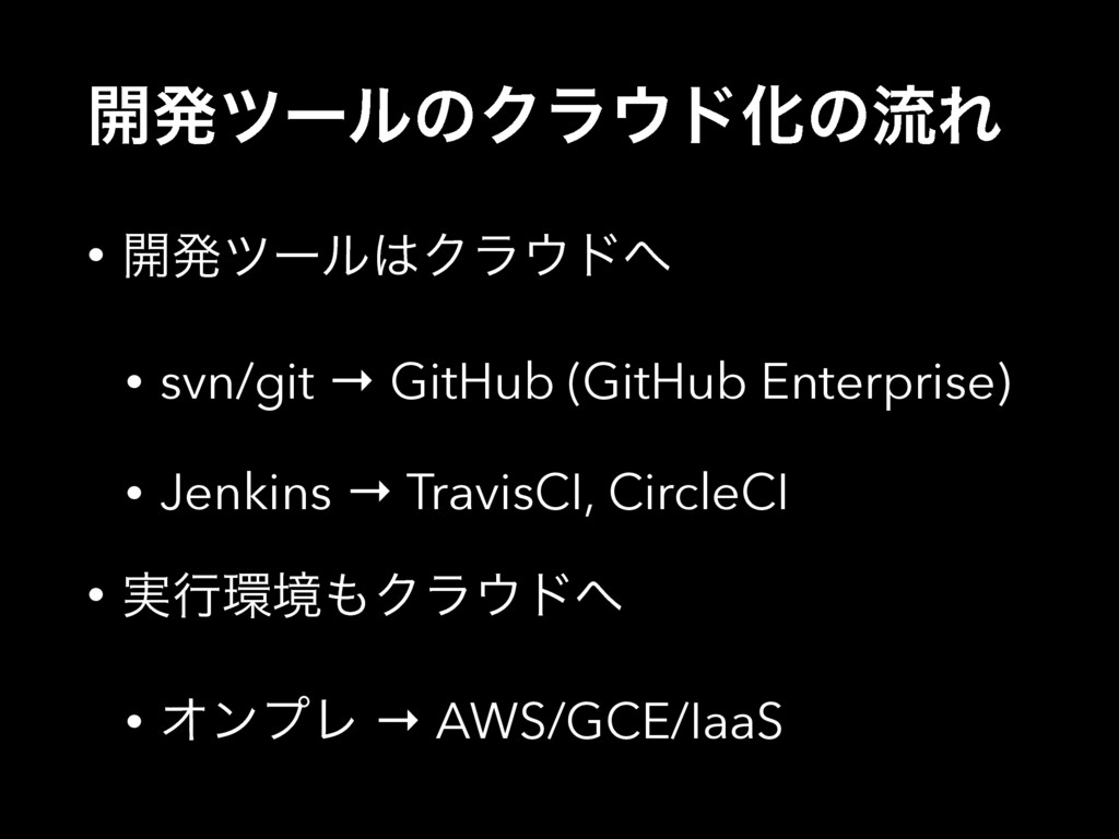 ։ൃπʔϧͷΫϥυԽͷྲྀΕ • ։ൃπʔϧΫϥυ • svn/git → GitHub...