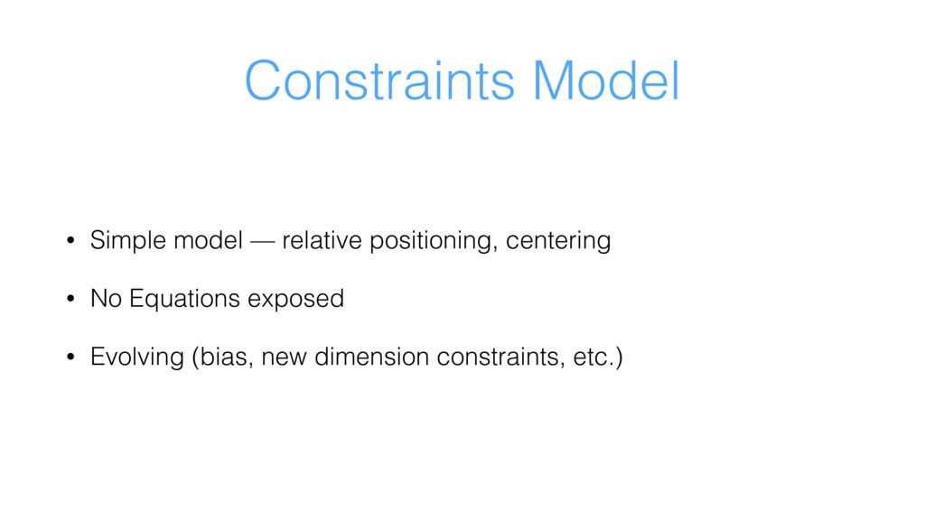 Constraints Model • Simple model — relative pos...
