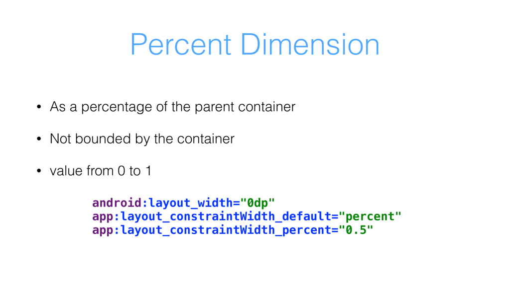 Percent Dimension • As a percentage of the pare...