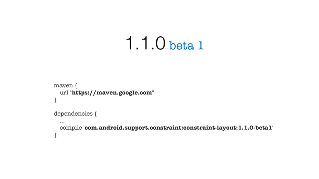 "beta 1 1.1.0 maven { url ""https://maven.google...."
