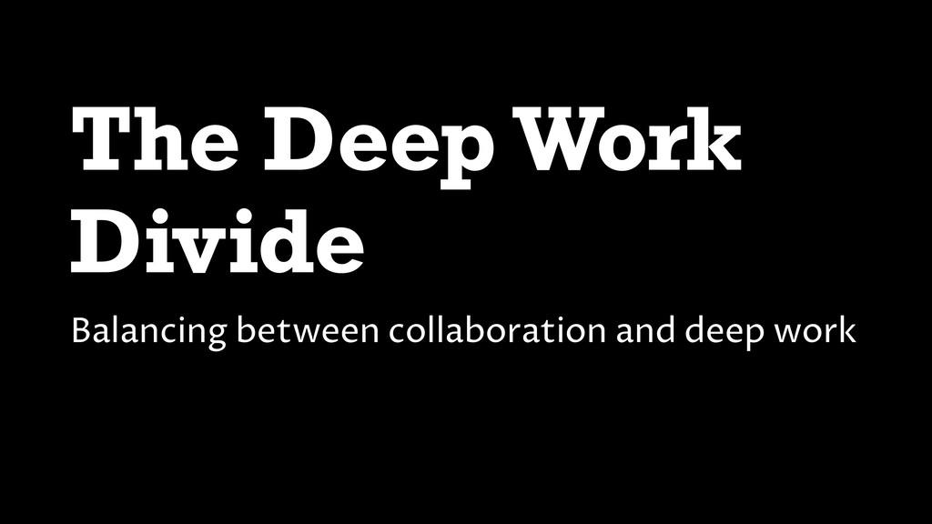 The Deep Work Divide Balancing between collabor...
