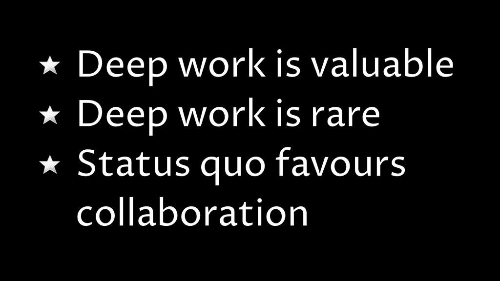 Deep work is valuable Deep work is rare Status ...