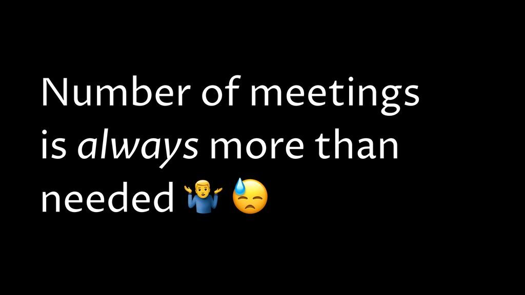Number of meetings is always more than needed *