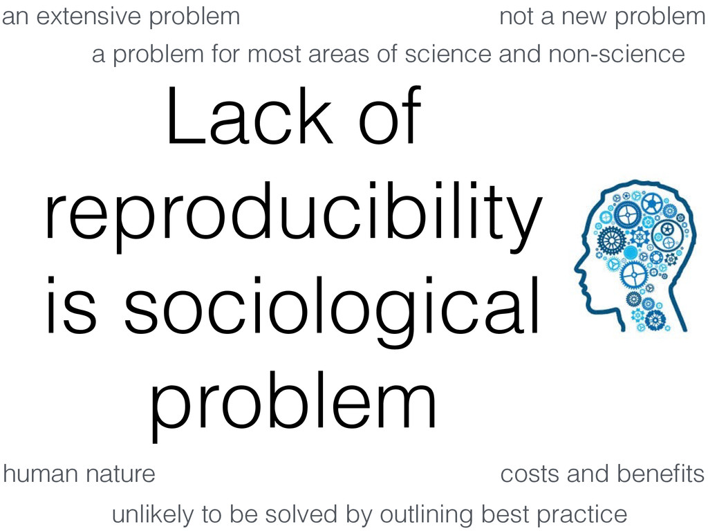 Lack of reproducibility is sociological problem...