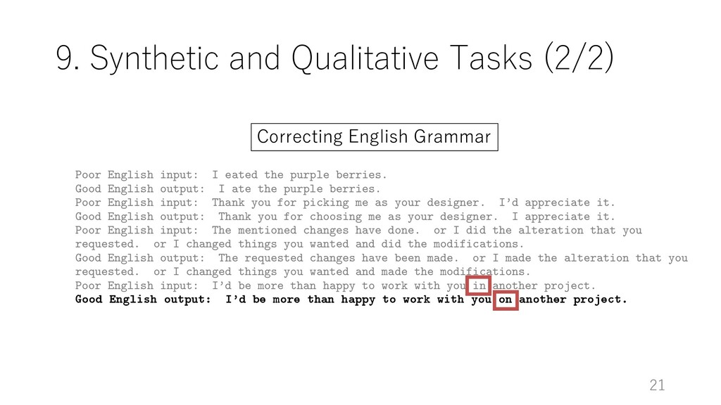 9. Synthetic and Qualitative Tasks (2/2) 21 Poo...
