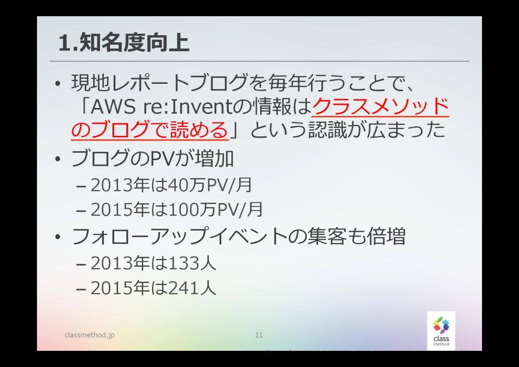 1.知名度度向上 classmethod.jp 11 • 現地レポートブログを毎年年⾏行行う...
