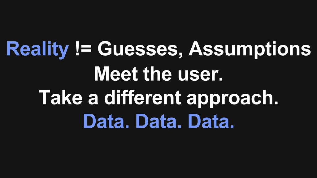Reality != Guesses, Assumptions Meet the user. ...