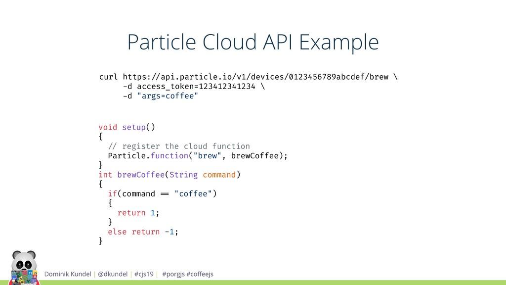 Particle Cloud API Example Dominik Kundel | @dk...
