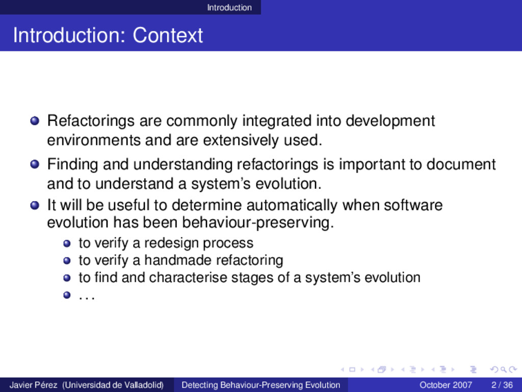 Introduction Introduction: Context Refactorings...