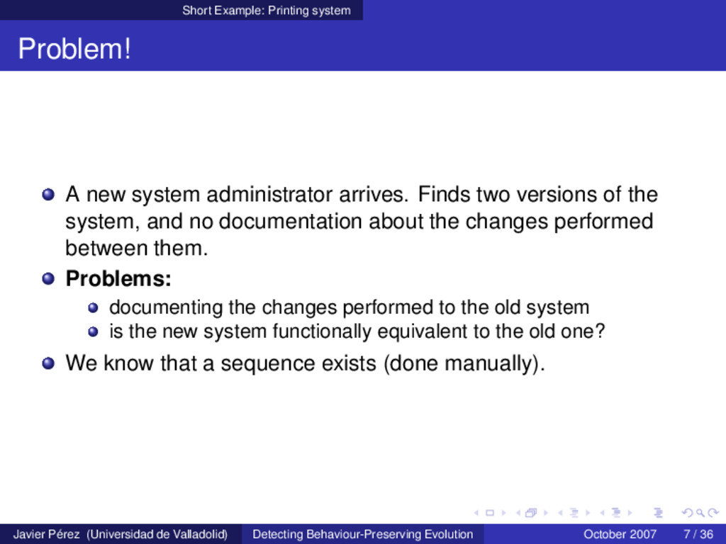 Short Example: Printing system Problem! A new s...