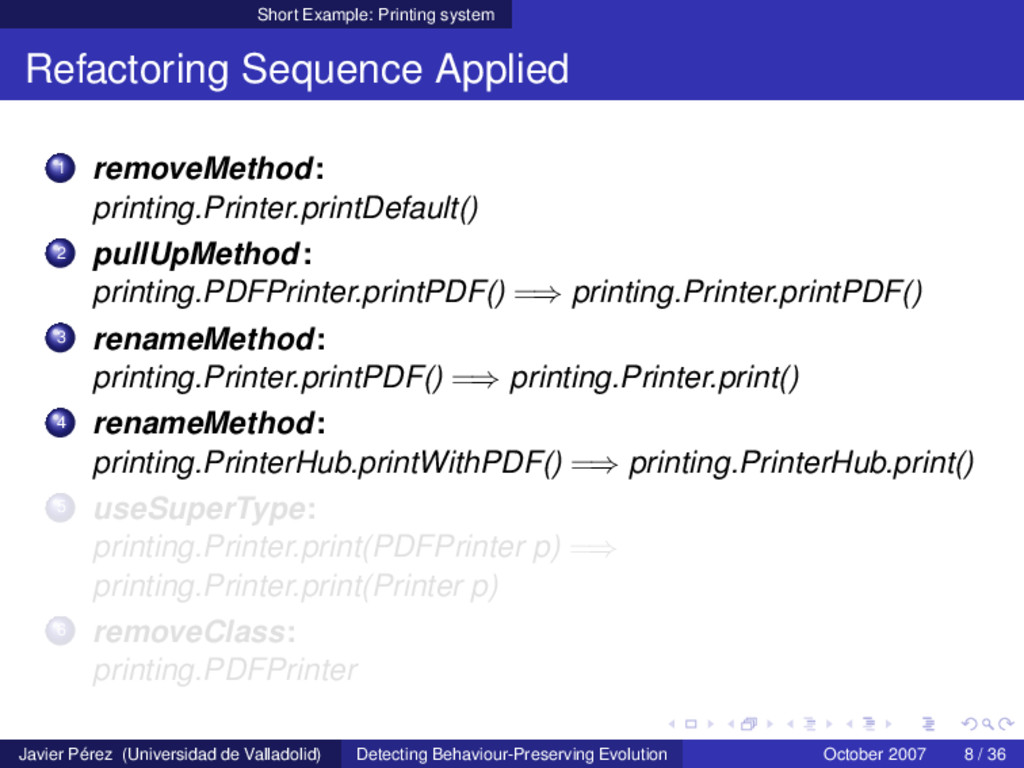 Short Example: Printing system Refactoring Sequ...