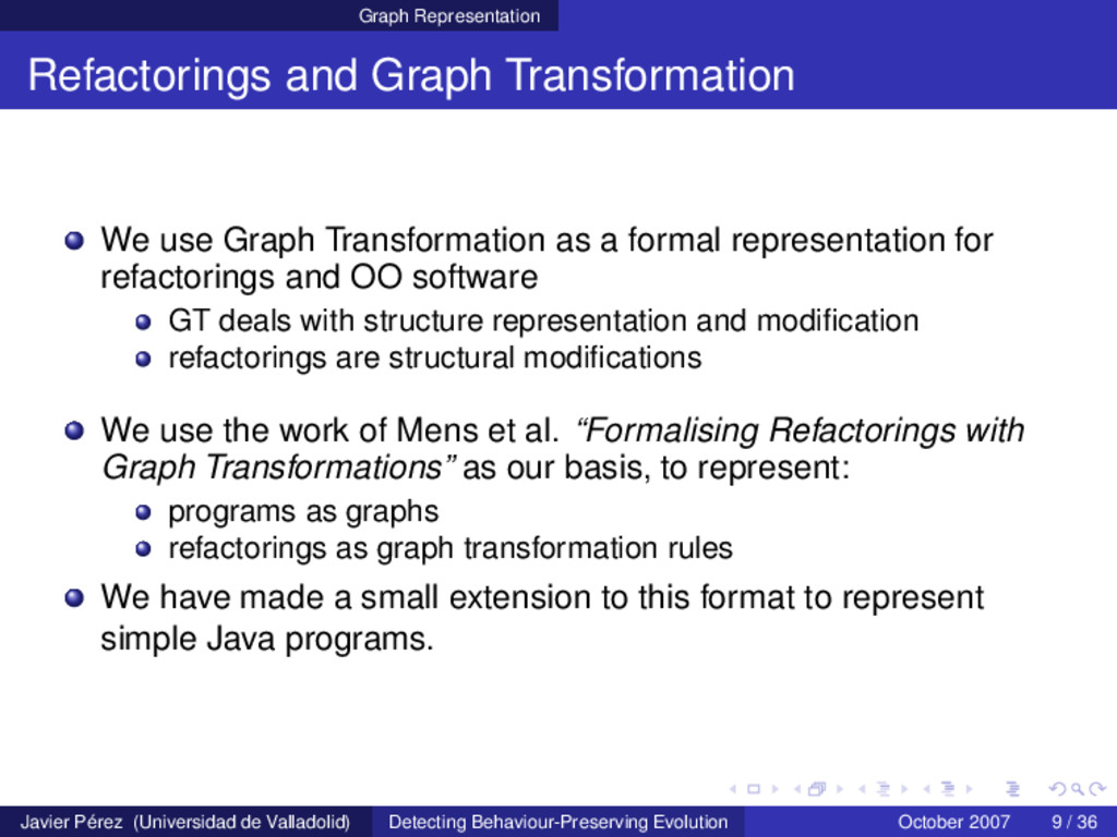 Graph Representation Refactorings and Graph Tra...