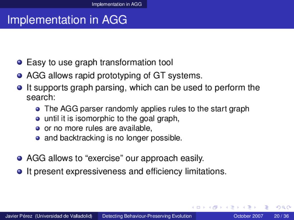 Implementation in AGG Implementation in AGG Eas...