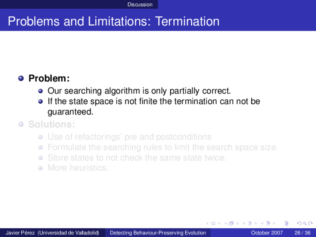 Discussion Problems and Limitations: Terminatio...