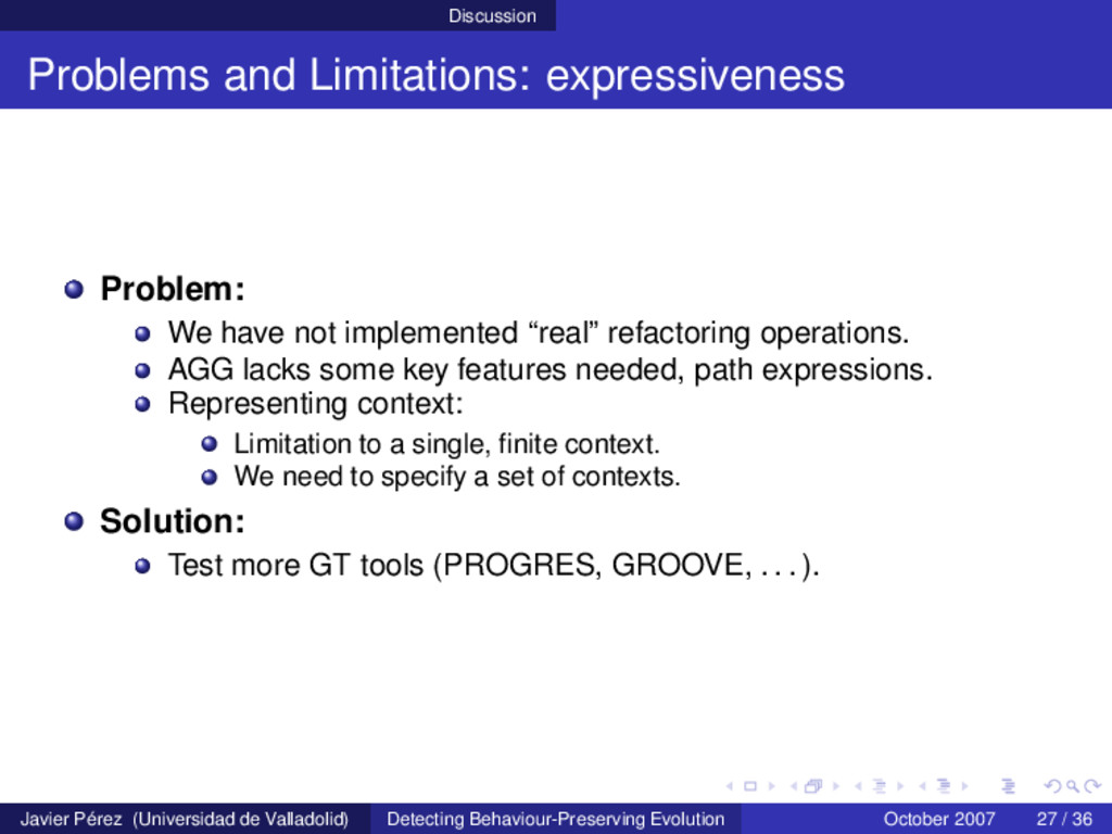 Discussion Problems and Limitations: expressive...