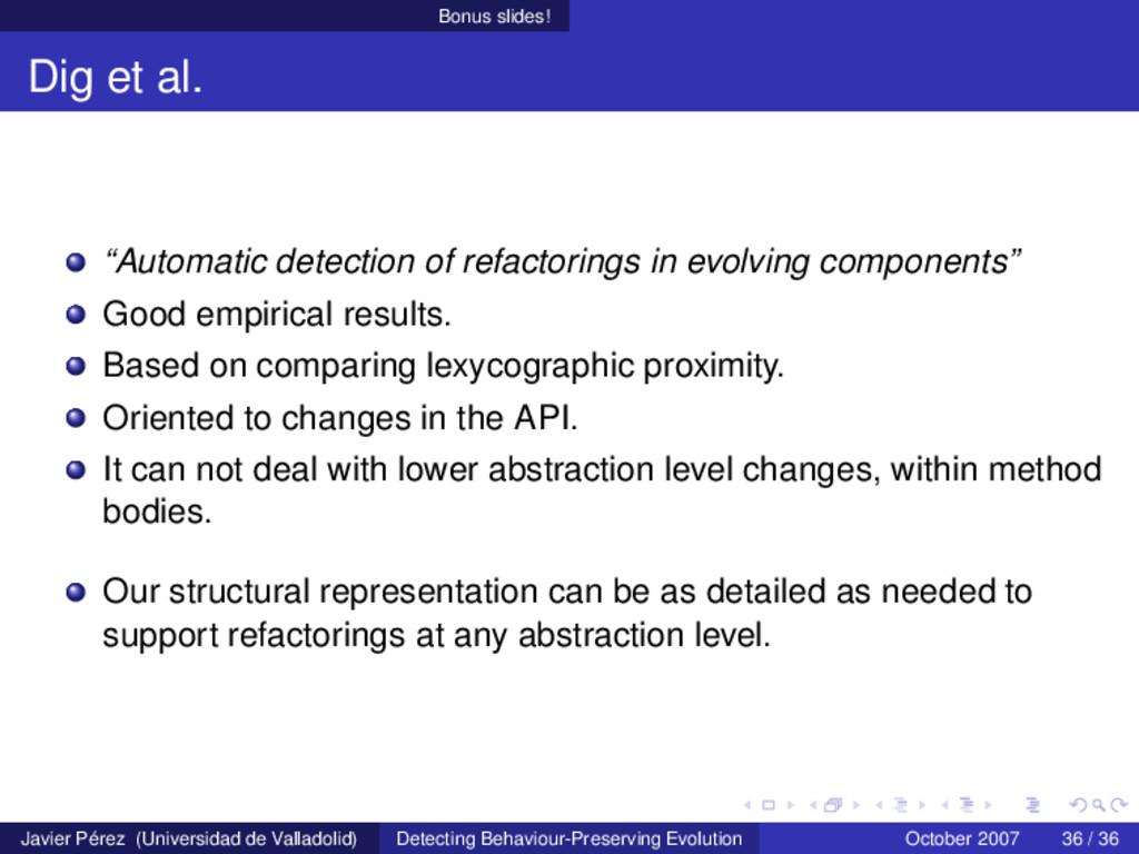 """Bonus slides! Dig et al. """"Automatic detection o..."""