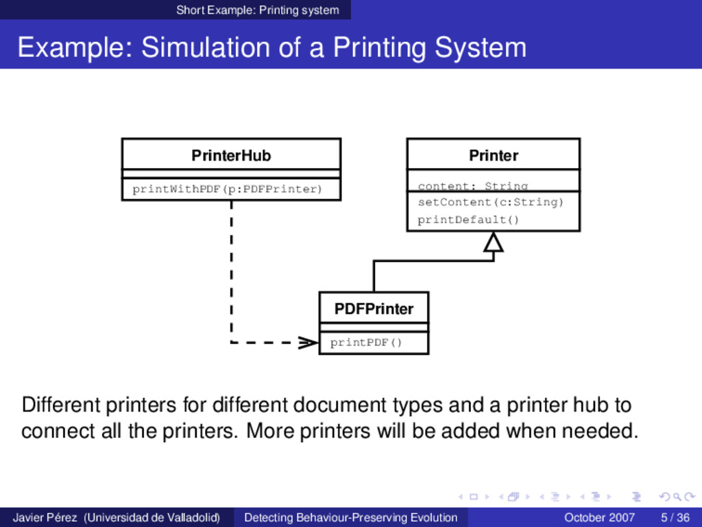 Short Example: Printing system Example: Simulat...