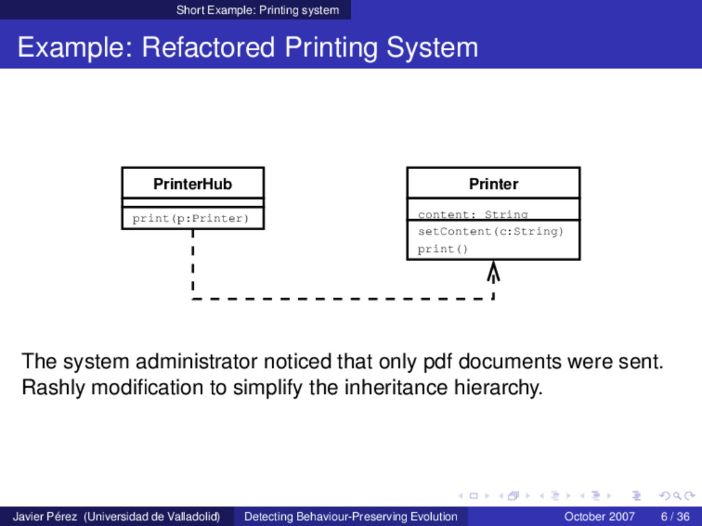 Short Example: Printing system Example: Refacto...
