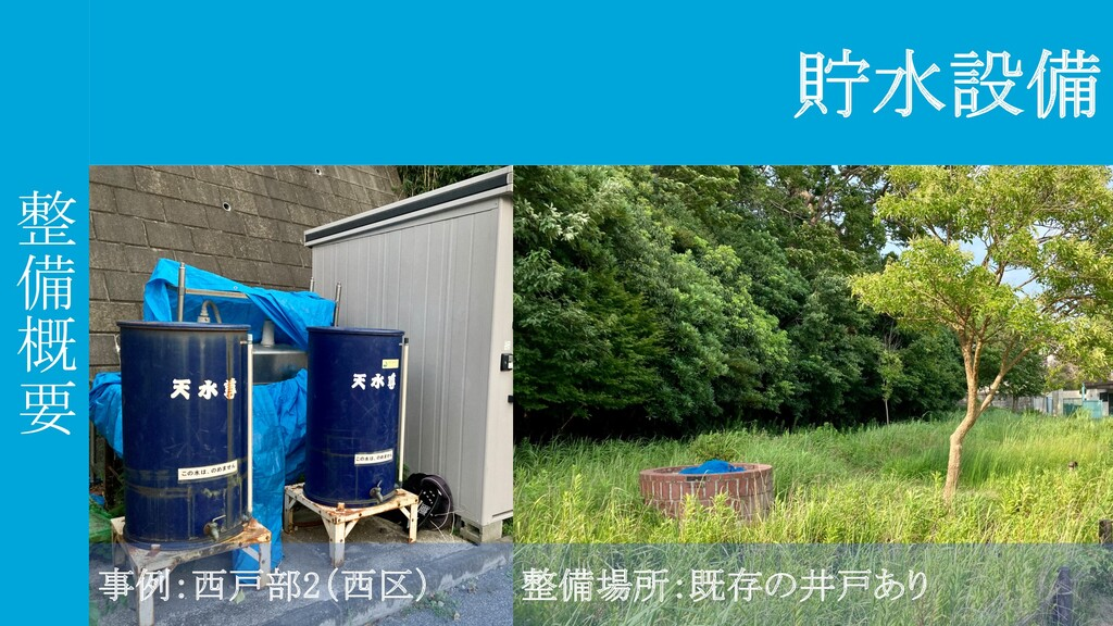 整 備 概 要 貯水設備 事例:西戸部2(西区) 整備場所:既存の井戸あり