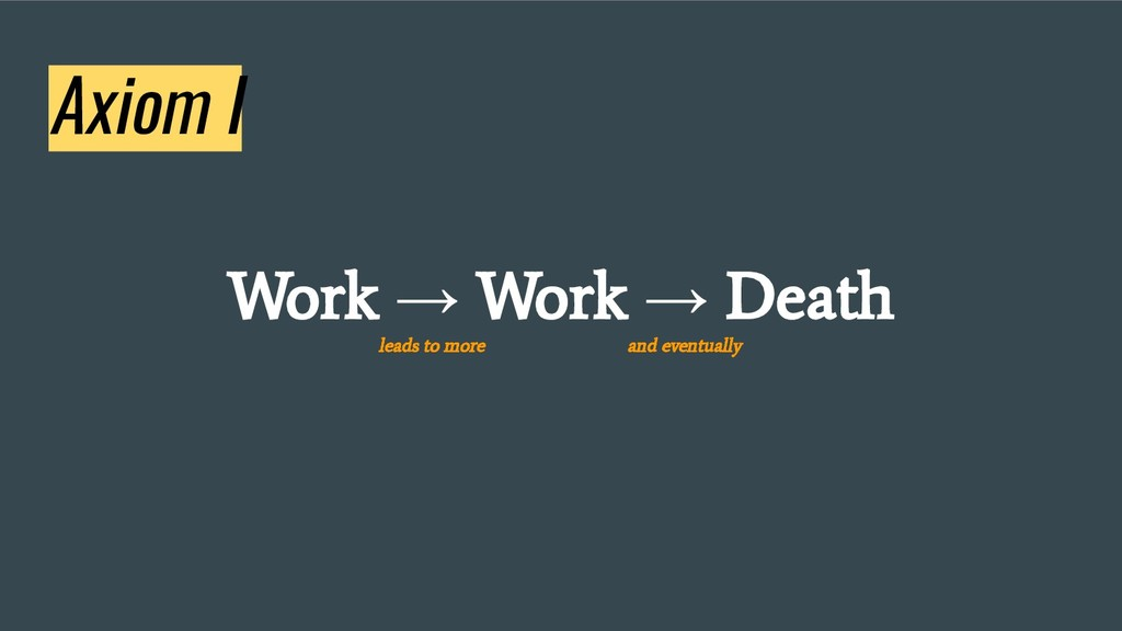 Axiom I Work → Work → Death leads to more and e...