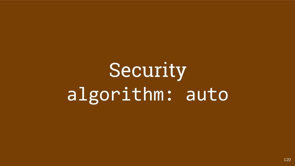 120 Security algorithm: auto